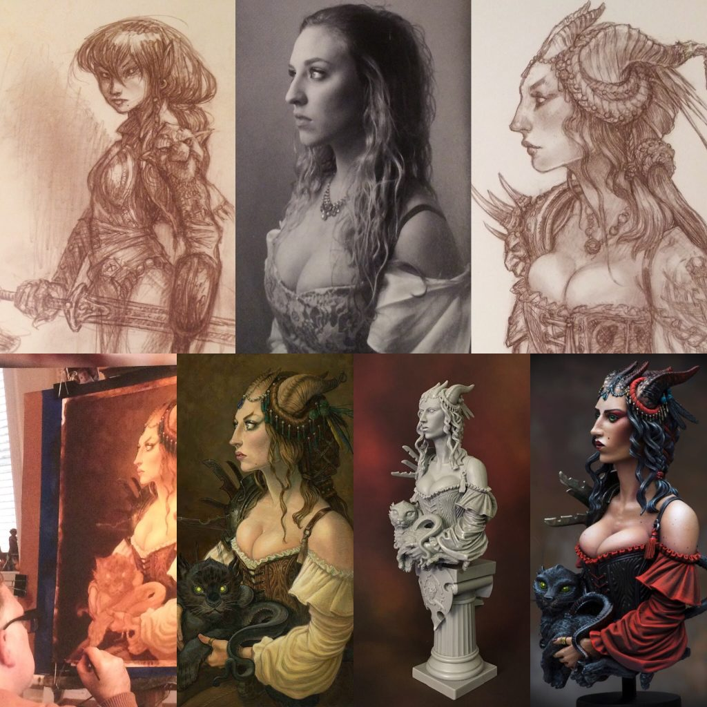 From Sketch to Painted Bust